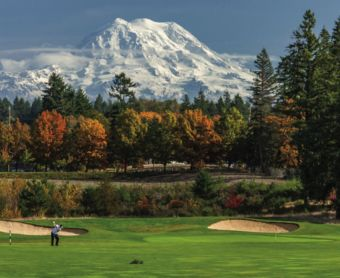 Golf course and Mount Rainier
